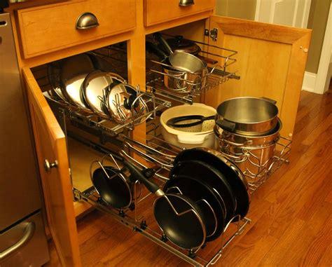 pans pots kitchen organization cabinet pull shelf lids tier rev organizer pot storage ferrellgraph cookware side neatly organizes colanders baskets