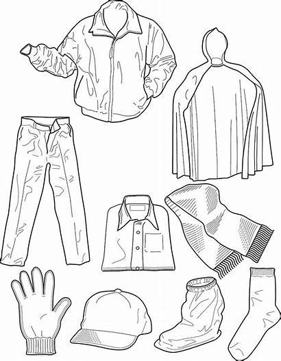 Colouring Clothing Pages Winter Printable Sheet Clothes