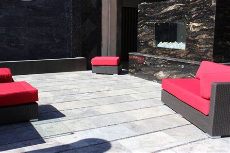 silver travertine paver outdoor patio contemporary