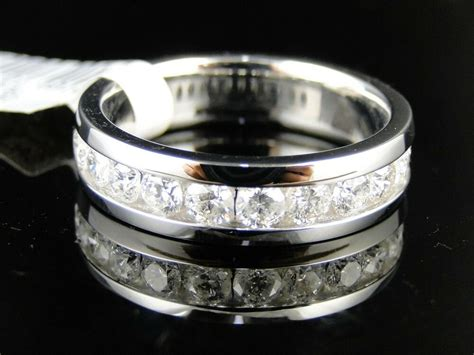 14k Mens White Gold Diamond Wedding Band Ring 1.50 Ct