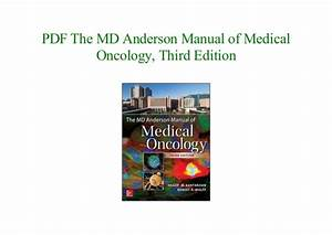 The Md Anderson Manual Of Medical Oncology Book 2020