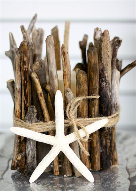 driftwood candle holder anthropologie inspired diy driftwood candle holder
