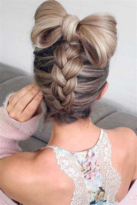 picture   fun braided updo   large hair bow  top