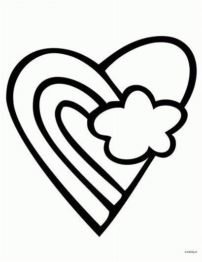 Coloring Heart Rainbow Simple Corazon Solo Printable