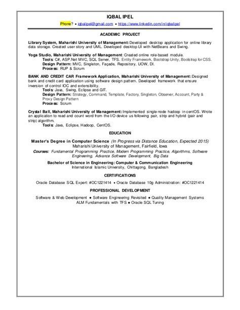 Resume Ca Java Server Framework by Iqbal Mahmmud Ipel Resume
