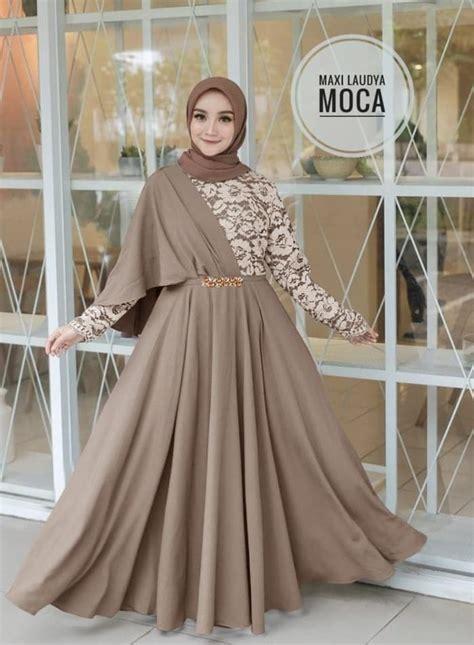 baju gamis long dress hijab model selendang pesta ryn