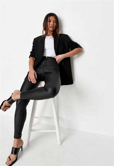 Black Vice High Waisted Coated Skinny Jeans | Missguided ...