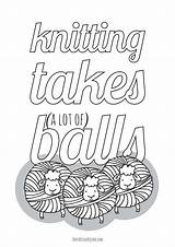 Knitting Coloring Pages Balls Lot Yarn Takes Don True Printables Square Adults Such Printable Lots Funny sketch template