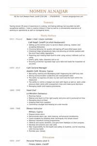 resume for cooking instructor sle resume for cooking instructor