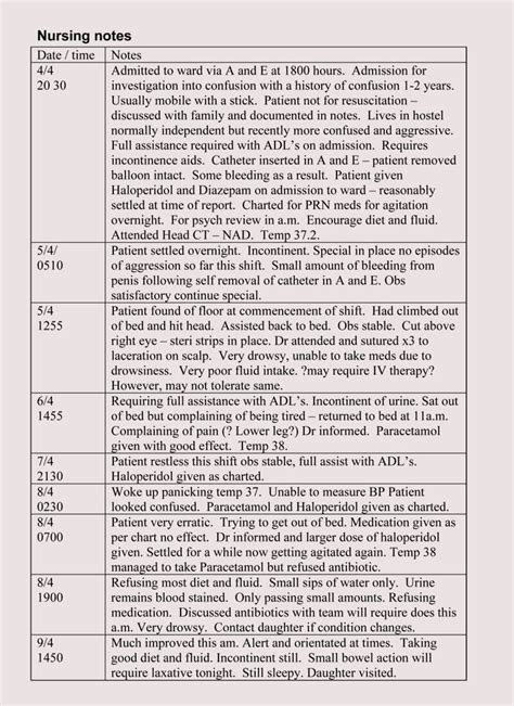nursing notes templates guidelines