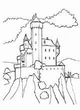 Coloring Hill Castle Medieval Designlooter 53kb 825px sketch template