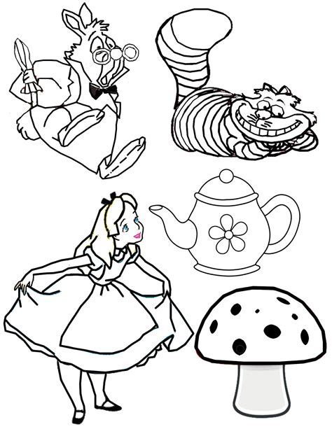 Disney Alice In Wonderland Tea Party Coloring Pages Www