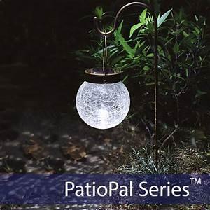 Crackled globe hanging solar garden light