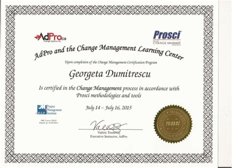 prosci change management certification july