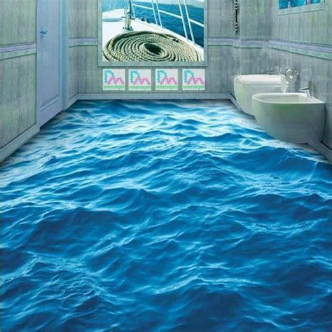 Custom Floor Wallpaper 3D Stereoscopic Ocean Waves Mural