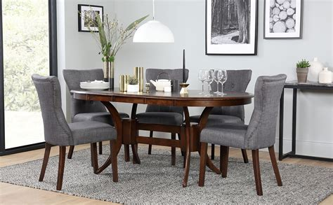 townhouse oval dark wood extending dining table