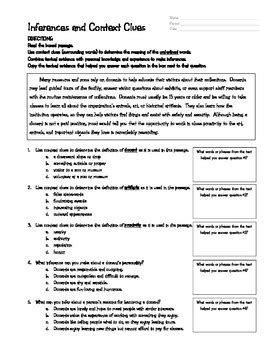 Context Clues And Inferences Worksheet By Allstar Ela Tpt