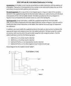 Solved  Eece 144 Lab  6  4 Subtractor In Verilog