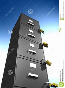 Locked File Cabinet  3d  Royalty Free Stock Photo