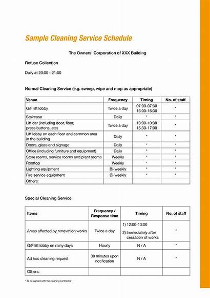 Cleaning Schedule Office Services Template Templates Allbusinesstemplates