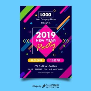 abstract colorful  year party poster