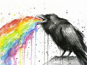 Raven Tastes the Rainbow Watercolor Art Print Black Bird