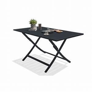 Table De Jardin : table de jardin marius rectangulaire gris anthracite 4 6 personnes leroy merlin ~ Teatrodelosmanantiales.com Idées de Décoration
