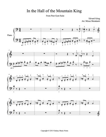 .mountain king, from peer gynt suite no. In the Hall of the Mountain King Very easy piano solo sheet