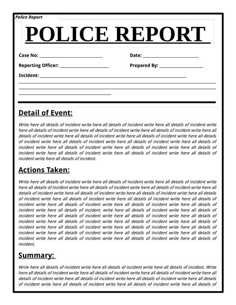 police report template templates