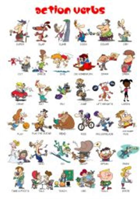 esl kids worksheets action verbs pictionary