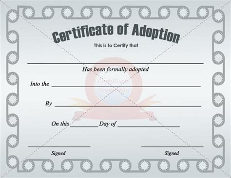 Blank Adoption Certificate Template by Adoption Certificate Template Certificate Templates