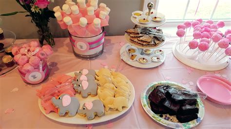 pink dessert table baby shower a little peanut is on the way pink and grey elephant