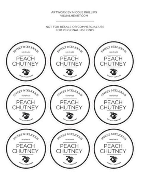 Chutney Label Templates by Free Printable Labels