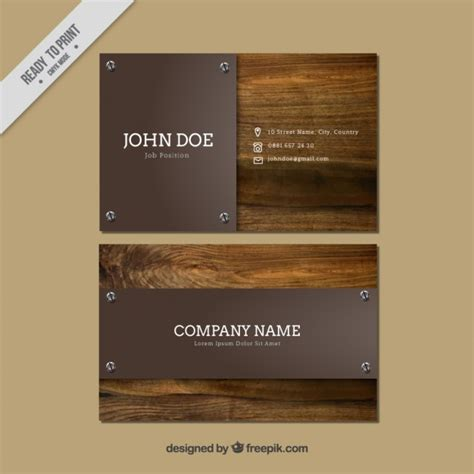 card visit template psd wood business cards with wooden background vector free download