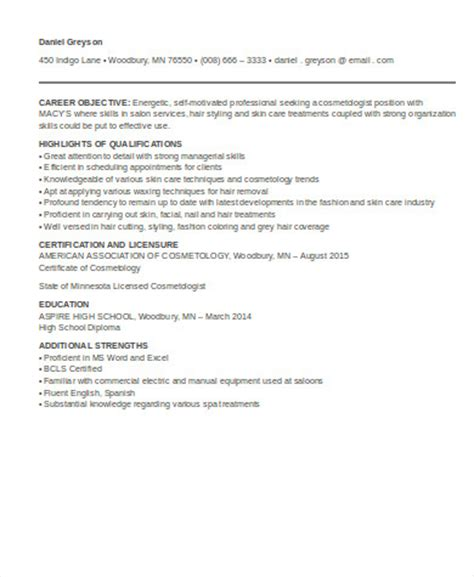 Beautician Resume Pdf by Cosmetologist Resume Sle 6 Exles In Word Pdf