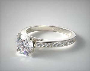 Thin Channel Set Shaped Diamond Engagement Ring 14K