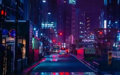 Neon Street Night Road Cars 4k Ultra
