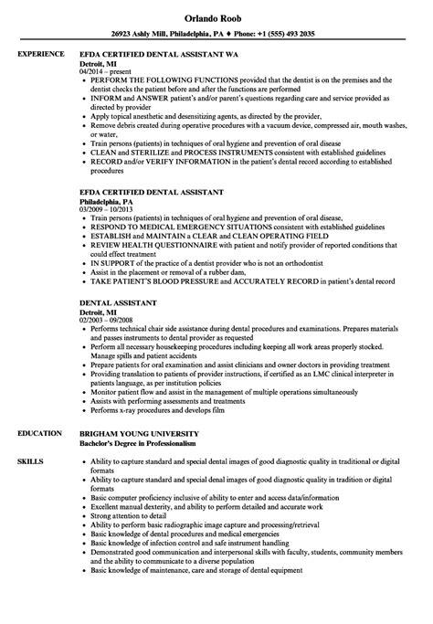 resume   dental assistant