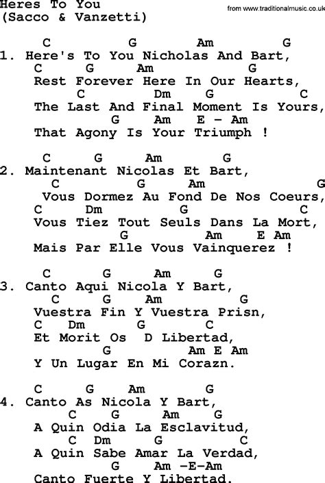 Joan Baez Song  Heres To You, Lyrics And Chords