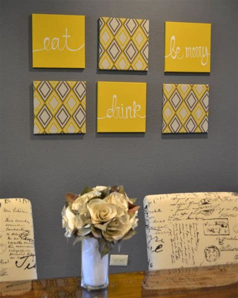 eat drink be merry yellow and gray wall art by goldenpaisley 125 00 make me now