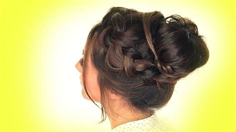 school hairstyles crown braid bun hairstyle youtube