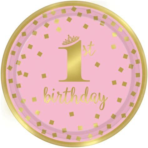 zum 1 geburtstag mädchen partyteller zum 1 geburtstag m 228 dchen gold 1st birthday