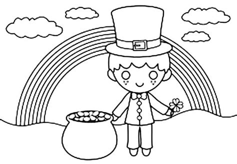 Cute Kid Under The Rainbow In St Patricks Day Coloring