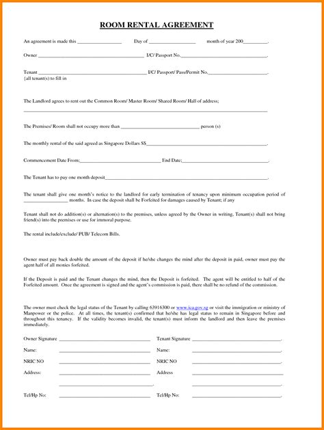lease a 8 room lease agreement letter format for