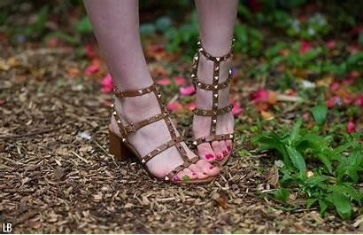 Sandals Valentino Rockstud Tobacco Brown Raindrops
