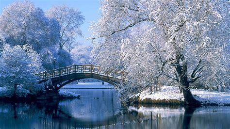 landscapes nature winter snow bridges desktop hd wallpaper
