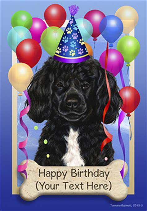portuguese water dog black white happy birthday flag