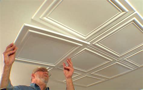 embossed ceiling tiles add elegance to a room diy