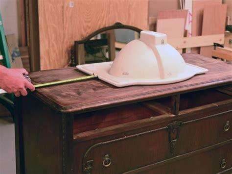 old dressers made into sinks turn a vintage dresser into a bathroom vanity hgtv