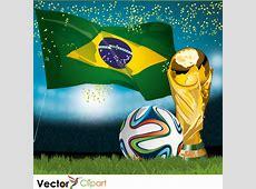 Estadio, bandera, Brazuca y copa Brasil 2014 Vector